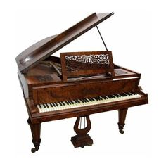Ernst Kaps burr Walnut Victorian Antique Piano ❤ liked on Polyvore featuring furniture, music, instruments, fillers and backgrounds