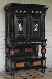 A RENAISSANCE REVIVAL ENAMEL PLAQUES, MARBLE SAND PIETRA DURA-MOUNTED EBONISED, EBONY AND MAHOGANY CABINET BY GEORGES TROLLOPE & SONS, CIRCA 1865