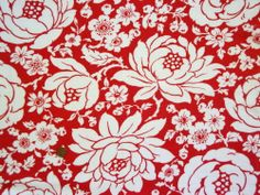 VINTAGE FEEDSACK FABRIC ~ Big Tropical Flowers on Red Cotton Flour Sack