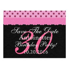 Pink and Black Lace Save the Date Birthday V102 Postcard