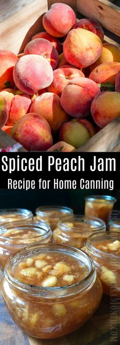 Home Canning - Spiced Peach Jam Recipe - One Hundred Dollars a Month - Food: Veggie tables Peach Marmalade Recipe, Peach Preserves Recipe, Spiced Peach Jam, Spiced Peaches, Spiced Pear, Can Peaches Recipes, Jelly Recipes, Peach Jam Recipes, Sweet Recipes