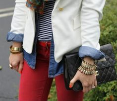 Red Jeans, Stripes, Chambray, and White