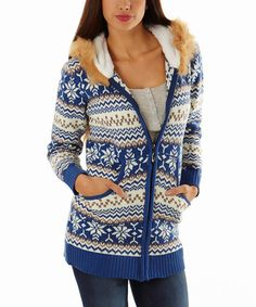 Another great find on #zulily! Blue & White Fair Isle Faux Zip-Up Hoodie by Celeb #zulilyfinds