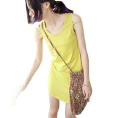 Allegra K Ladies Fake Slip Strap Stretchy Sleeveless Summer Top Shirt Yellow XS Allegra K. $7.20