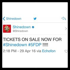 Via @Shinedown: TICKETS ON SALE NOW FOR #Shinedown #5FDP !!!!! #SiXXAM   Barry Kerch Brent Smith Eric Bass Shinedown Shinedown Nation Shinedowns Nation Zach Myers