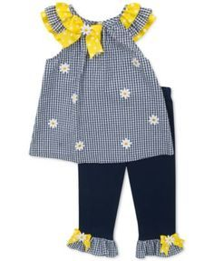 Rare Editions Baby Girls' 2-Piece Navy & White Tunic & Leggings Set