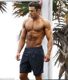 Bulking up: The actor was showing off a rippling torso and bulging biceps on set of the Ba...