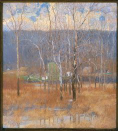 Grey Day, March,  1913,  oil on canvas,  Daniel Garber,  Born Manchester, Ind. 1880,  Died Lumberville, Pa. 1958,  Museum purchase, 78.30