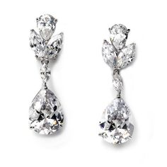 USABride Cubic Clip On Bridal CZ Dangle Earrings Silver Plated Cubic Zirconia Floral 1260 * Continue to the product at the image link.