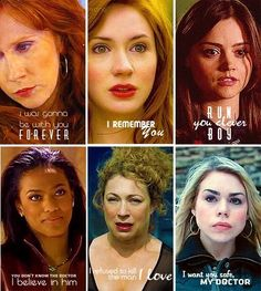 "From the top left: Donna Noble, Amy (Amelia) Pond, Clara (Oswin) Oswald, Martha Jones, River Song (Melody ""Mels"" Pond) and Rose Tyler."
