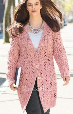 from Сабрина 2015 09 Knit Jacket, Knit Cardigan, Warm Coat, Shawls And Wraps, Crochet Clothes, Knitwear, Knit Crochet, Women Wear, Vintage Fashion