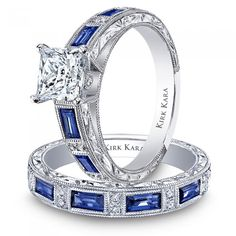 This would be my ideal ring...Jewelry Finder | Charlotte Collection Blue Sapphire Engraved Engagement | Martha Stewart Weddings