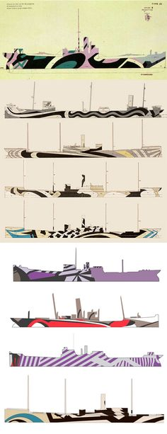 Artist Norman Wilkinson developed a beautifully abstract form of camouflage to protect ships from German U-boats in fighting war with Art. Dazzle Camouflage, Camouflage Patterns, Razzle Dazzle, World War One, Battleship, Op Art, Graphic Design, History, Adventure