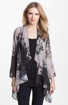 Citron Drape Front Silk Jacket available at Kimono Fashion, Hijab Fashion, Fashion Dresses, Chiffon Kimono, Print Chiffon, Blouse Styles, Blouse Designs, Mode Kimono, Silk Jacket