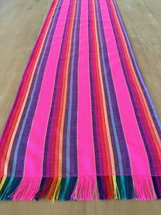 Mexican Table Runner, Tablecloth Or Napkins. Washed Look Pink Fabric, Woven  Details, Boho Chic Decor, Rustic Tribal Linens