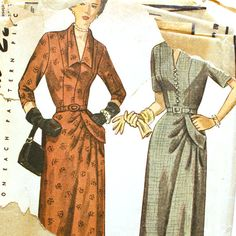 1940s dress pattern asymmetrical - bust 37 Simplicity 3032 for sale on etsy shop vtgsewingpatterns