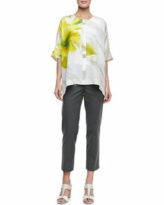 Jordana Printed Silk Blouse & Metro Stretch Cropped Bleecker Pants by Lafayette 148 New York at Neiman Marcus.