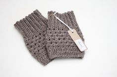 Crochet Boot Cuffs In Soft Brown - ..