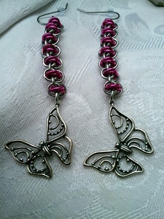 Sterling Butterfly Earrings  Pink and by LittleCoveCreations, $26.00