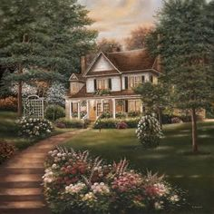 Carolina Evening II - Poster by Betsy Brown Thomas Kinkade, Intermediate Colors, Kinkade Paintings, Cottage Art, Brown Art, Bob Ross, Beautiful Paintings, Prints For Sale, House Painting