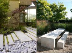 garten landschaft gestaltung beispiele beton trittplatten sitzmöbel