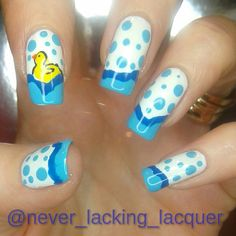 This is a rubber duck manicure!! I hope you like it!! It is from Instagram @never_lacking_lacquer #nails #nailart #rubberduck #duck