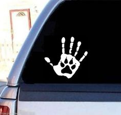Decal Sticker For Car/Truck/SUV/Van - Hand Print Paw Rescue Breed Pet Adopt Dog