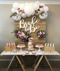 Wedding shower ideas bridal shower brunch ideas on a budget Elegant Bridal Shower, Bridal Shower Party, Rustic Bridal Showers, Bridal Shower Desserts, Rustic Shower, Bridal Parties, Tea Parties, Fiesta Shower, Bridal Shower Planning
