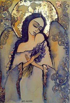 AMARANT-ART: Anioły na zawsze... I Believe In Angels, Angel Pictures, Angel Art, Picture On Wood, Religious Art, Art Sketchbook, Figure Painting, Ciel, Watercolor Art