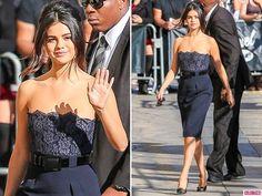 Selena Gomez Navy Dress and White Jumpsuit On Jimmy Kimmel Live 06