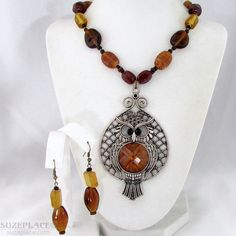 Handmade Owl Necklace Earring Set Chunky Brown Black Golden SuzePlace.com