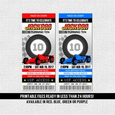 RACE CAR TICKET Invitations Birthday Party Go Kart Racing (Printable Files) - by nowanorris on ETsy