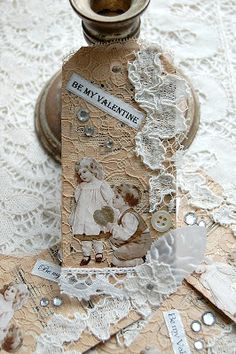 Be My Valentine tag, Victorian style.  uses vintage children.  I'd photocopy multiples of children images, fussy cut, then make multiples.