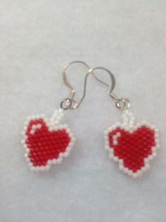 Heart Brick Stitch Earrings by BeadingBeeCreations on Etsy, $12.00