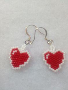 Heart Brick Stitch Earrings by BeadingBeeCreations on Etsy, $12.00