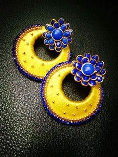 Silk Thread Jhumkas, Silk Thread Bangles Design, Silk Thread Necklace, Beaded Necklace Patterns, Thread Jewellery, Jewelry Patterns, Fabric Basket Tutorial, Silk Art, Thread Art