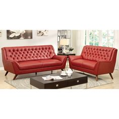 Furniture of America Valentino 2-Piece Mid-Century Modern Bonded Leather Sofa Set (Red)