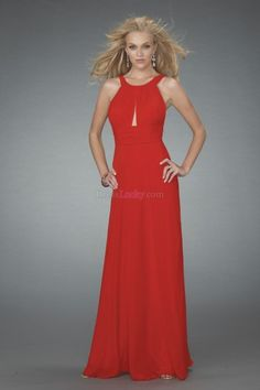 Red Jewel Backless Natural Long/Floor-length Chiffon Evening Dresses ED1DAD