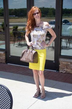 lace, yellow and my LV bag