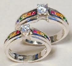 rainbow wedding ring sets - Rainbow Wedding Rings