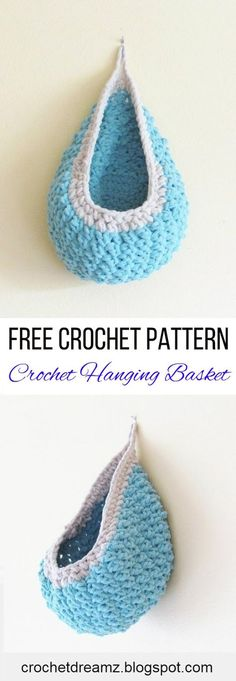 A Crochet hanging basket pattern that can add style and storage to your room. Made using Bernat Blanket Yarn, this is a fast and easy pattern. Visit my blog for the free pattern. #crochetbasketpattern, #crochethangingbasketpattern, #bernatblanketyarnpattern