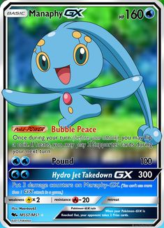 This is Manaphy GX. I can make you a physical card just like it! Pokemon Umbreon, My Pokemon, Dragon Type Pokemon, Super Mario, Feelings, Cards, Maps, Playing Cards