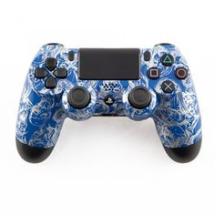 Silver Zombie on Blue PS4 Controller