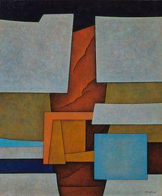 Gunther Gerzso - Estructura en gris y rojo, 1964, oil on canvas, 18 1/2 x 15 in.,