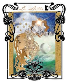 "Nouveau Tarot ""La Stella"" 17 by sarahdaydream on Polyvore featuring arte"