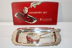 Vintage Wm. Rogers Cranberry Set Holiday by SeacoastVintage