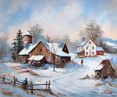 Winter Landscape by Walter Wenzel Pranke - Winter Landscape Winter Scene Paintings, Cute Paintings, Winter Painting, Winter Art, Snow Scenes, Winter Scenes, Mandala Kawaii, Landscape Drawings, Landscape Paintings