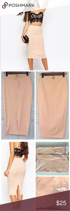 "ASOS Midi Pencil Skirt in Jersey ASOS Brand New  Midi Pencil Skirt in Jersey in Blush Color in US size 2. Length 29 1/2"". Midi skirt by ASOS Collection Stretch jersey High rise Elasticated waistband Kick split hem Close cut body-conscious fit  Machine wash 95% Cotton, 5% Elastane. ASOS Skirts Midi"