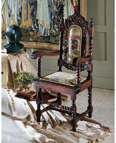 """""""Charles II"""" mahogany chair from Design Toscano."""