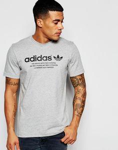 Lækre adidas Originals T-Shirt With Chest Logo AJ7236 - Grey adidas Originals Printed til Herrer til enhver anledning